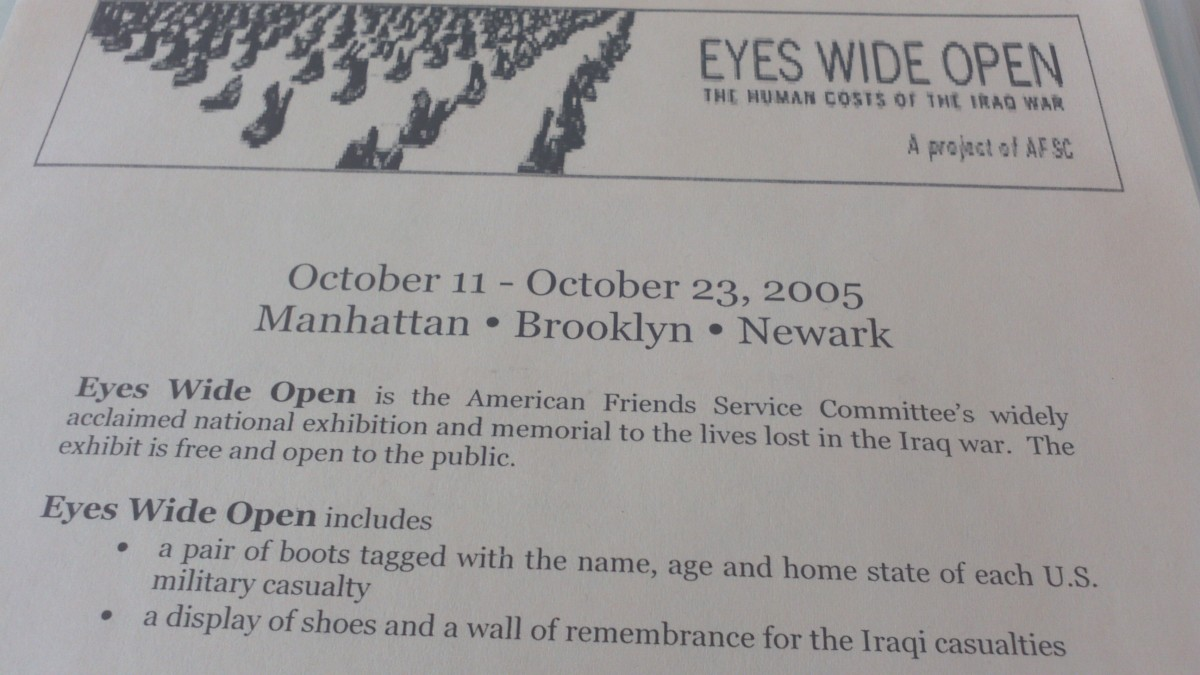 This is one of many items I collected at the AFSC-sponsored Eyes Wide Open boots exhibit (October 11-23, 2005) at the Cathedral of St. John the Divine. A replica of the post card from it was posted on the gallery wall.