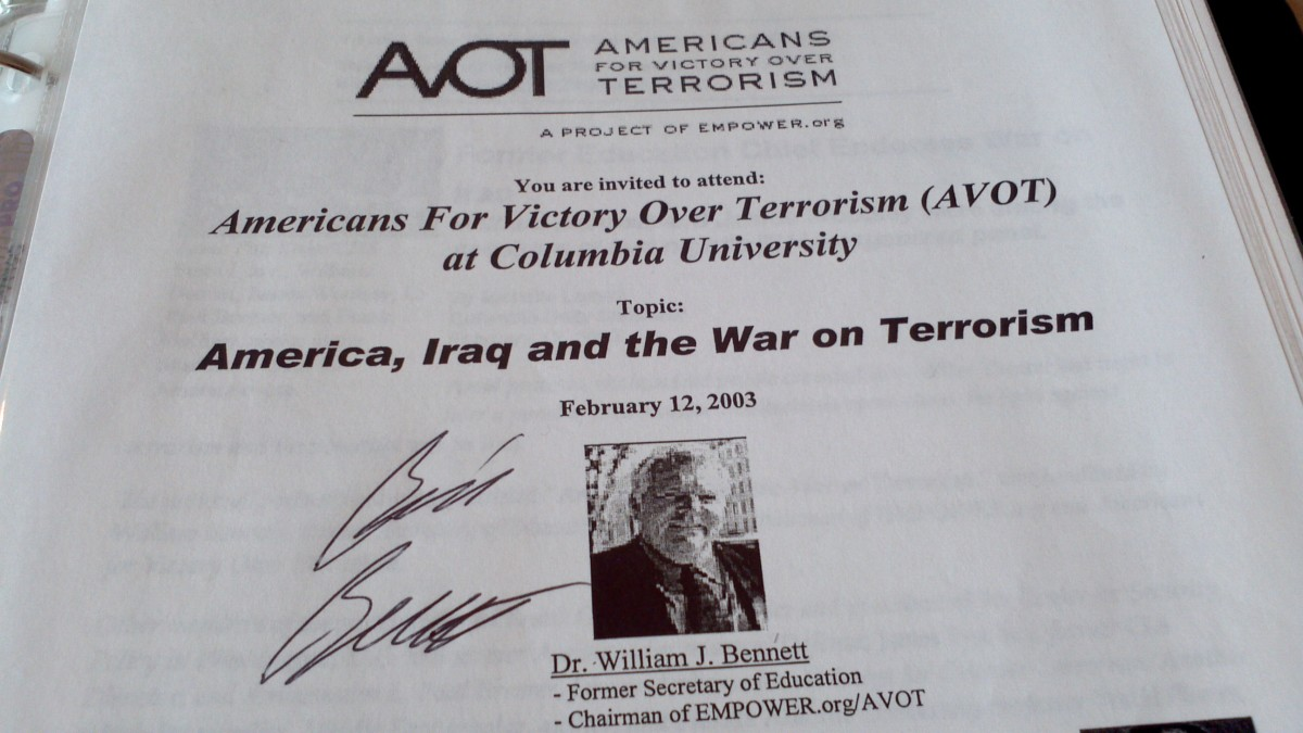 This autographed flier documents when Dr. Bill Bennett, Amb. Paul Bremer, James Woolsey and others came to NYC to endorse the pending invasion of Iraq... to look for WMD and change its leadership.