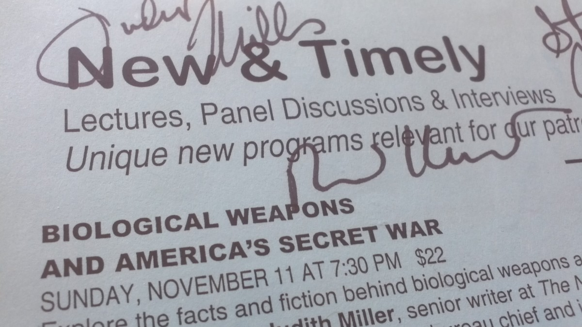 Flier marking when then-New York Times journalist Judith Miller, Jerome Hauer and others were addressing biological and chemical weapons (at the 92nd St. Y).