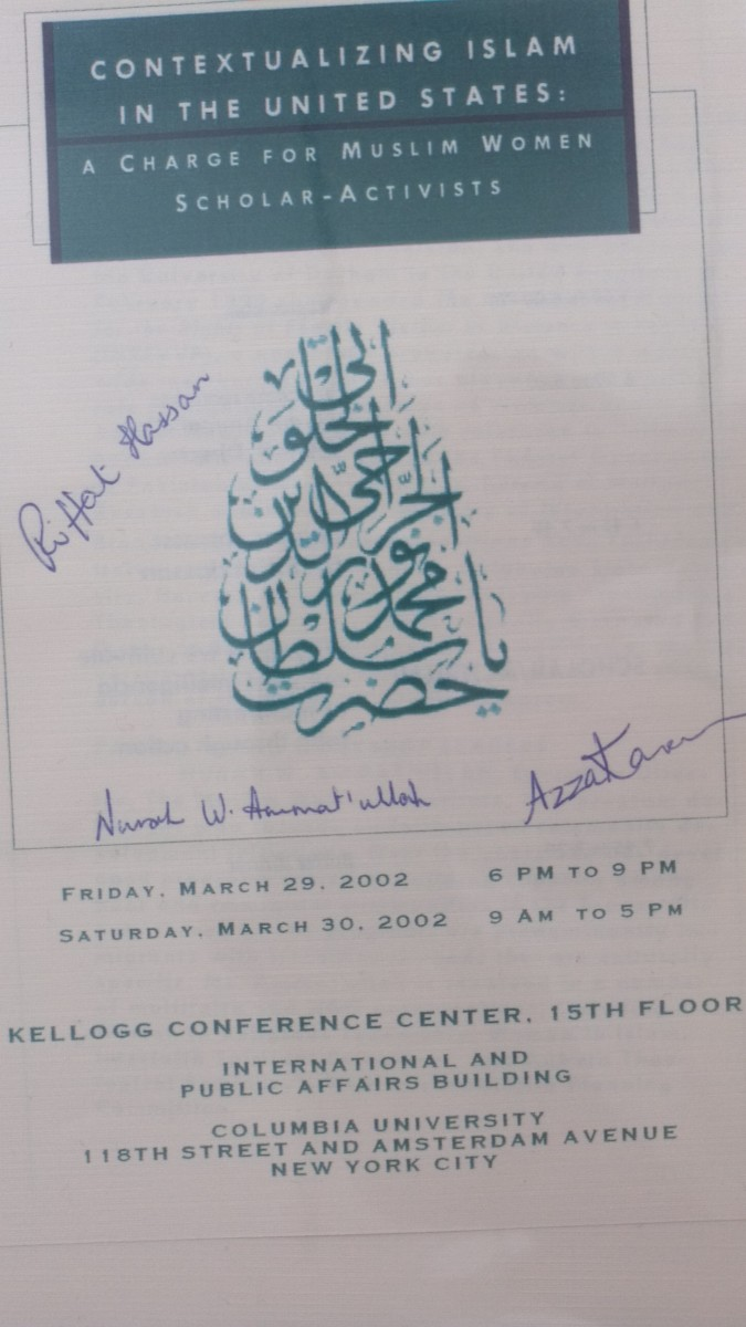 This program was signed by scholar-activists Dr. Azza Karam, Nurah W. Ammat'ullah and Dr. Riffat Hissan at a symposium addressing the radicalism within Islam.