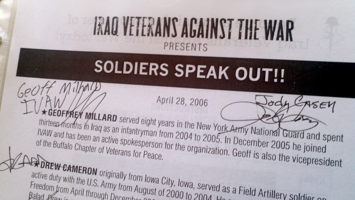 I gathered this program flier (with autographs) and the below postcards at an event sponsored by Iraq Veterans Against the War (IVAW.org).