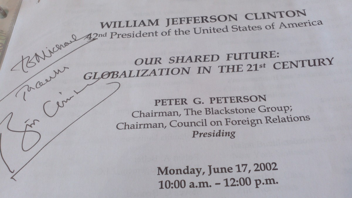 I secured this program after I helped videotape former President Bill Clinton's talk at the Yale Club near Grand Central Terminal. It was sponsored by the Council On Foreign Relations.