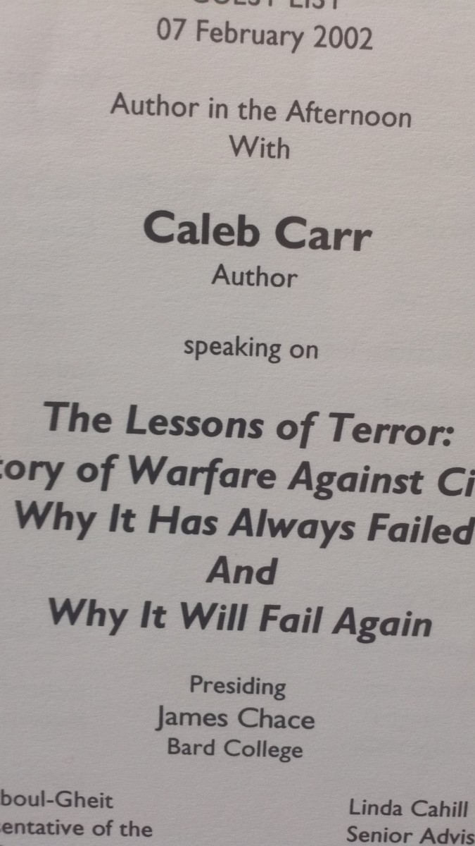Program flier from a book talk at the Carnegie Council featuring war historian Caleb Carr (on February 7, 2002).