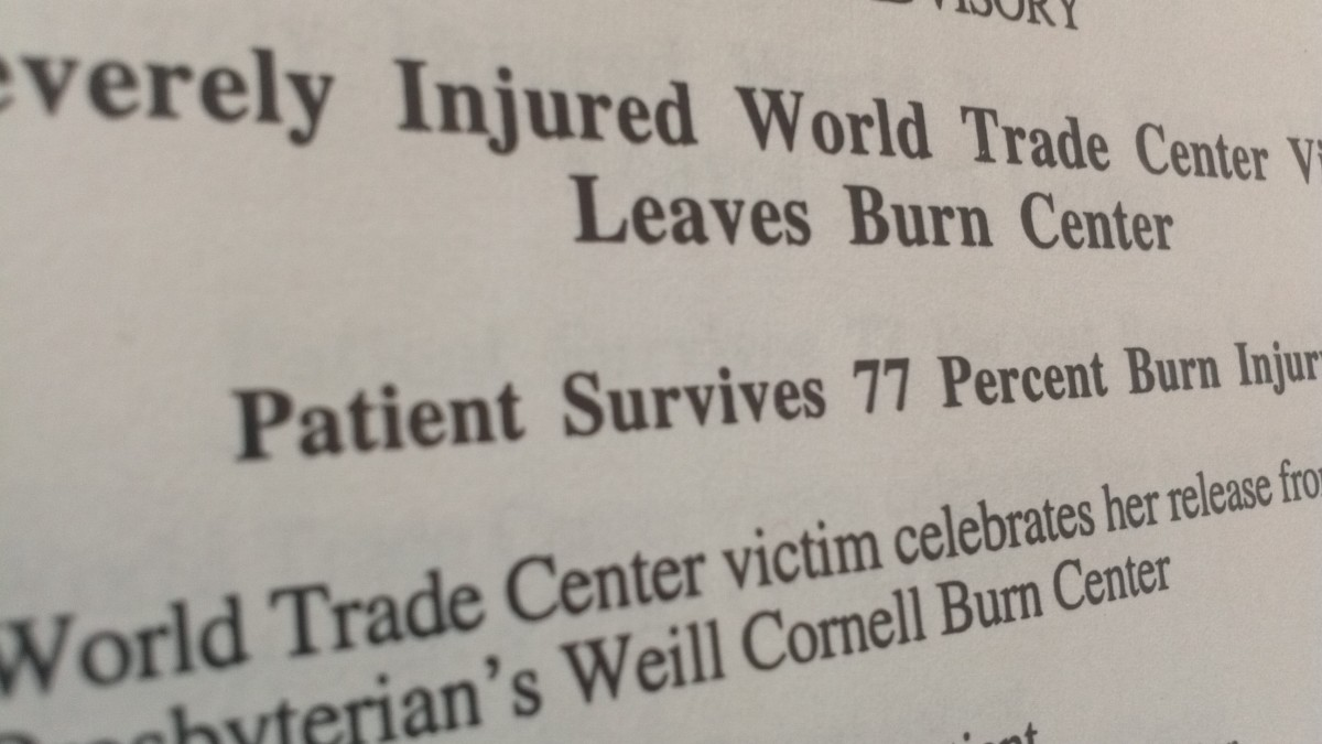 A media release from one of the press events I helped videotape when WTC victims were released from the Burn Center at NewYork-Presbyterian Hospital/Cornell. This one on January 29, 2002.