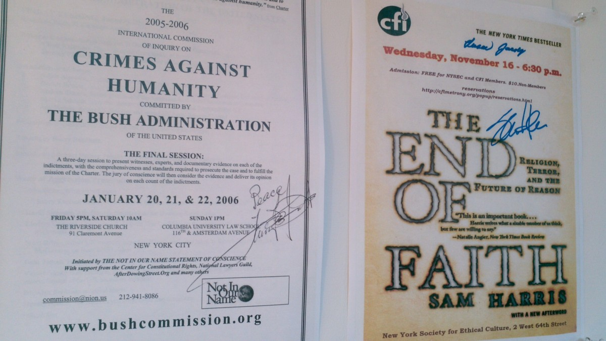 Flier left was signed by Harry Belafonte (at Riverside Church); next to it one signed by religion critic Sam Harris (at the New York Society for Ethical Culture).