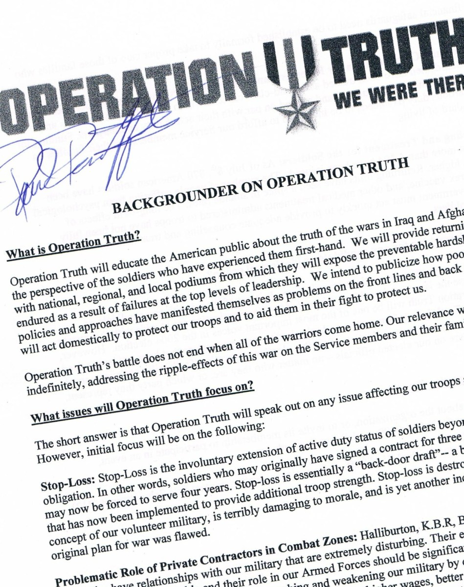 This flier, signed by IAVA.org founder and war veteran Paul Rieckhoff, was secured on August 14, 2004 at a Soldiers & Military Families Speak Out About War On Iraq program... a Mouths Wide Open Community Center event.