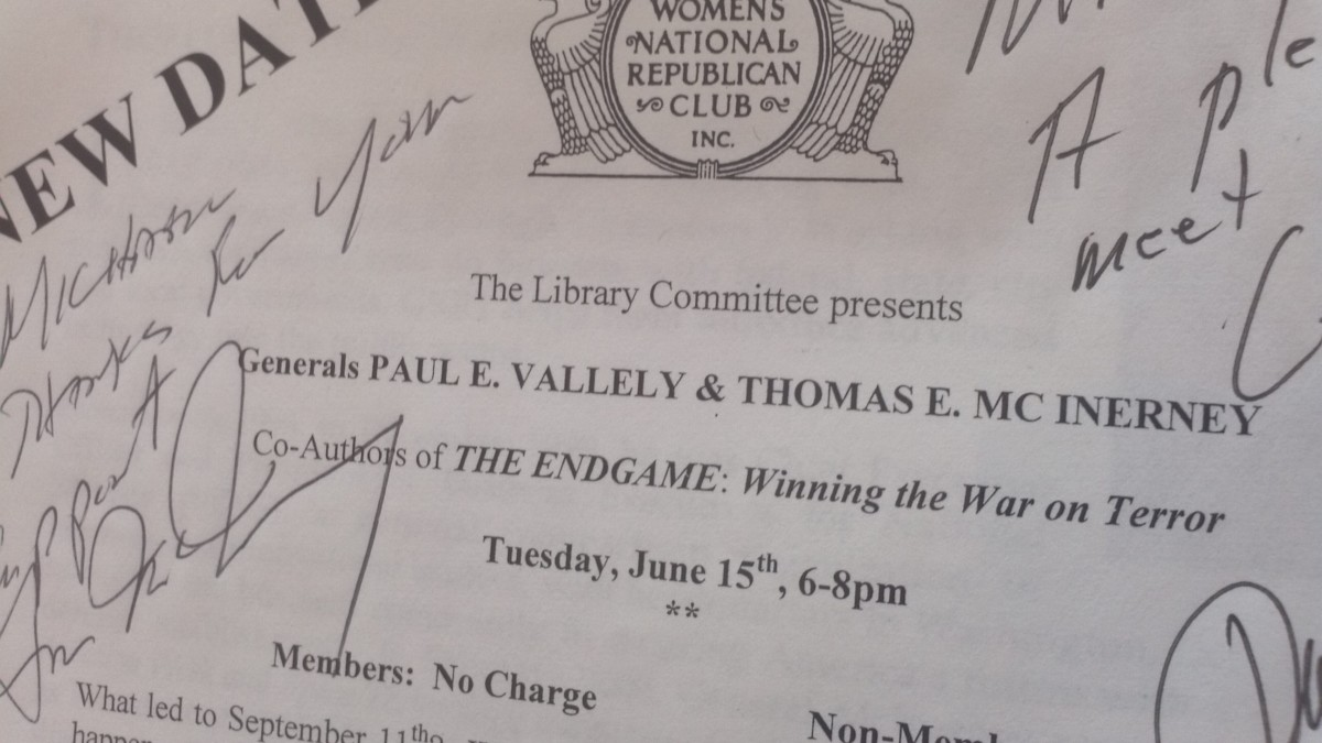 Announcement signed by Deputy General Paul E. Vallely, U.S. Army (Ret.) and Lieutenant General Thomas E. McInerney USAF (Ret.) on June 15, 2004 at their book talk. At the time they were consultants with Fox News.