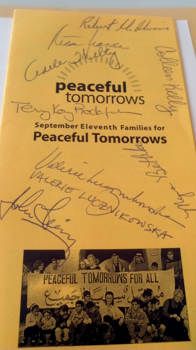 On the third anniversary of 9/11 I attended a book release discussion sponsored by Peaceful Tomorrows. It took place at the Puffin Room art gallery.