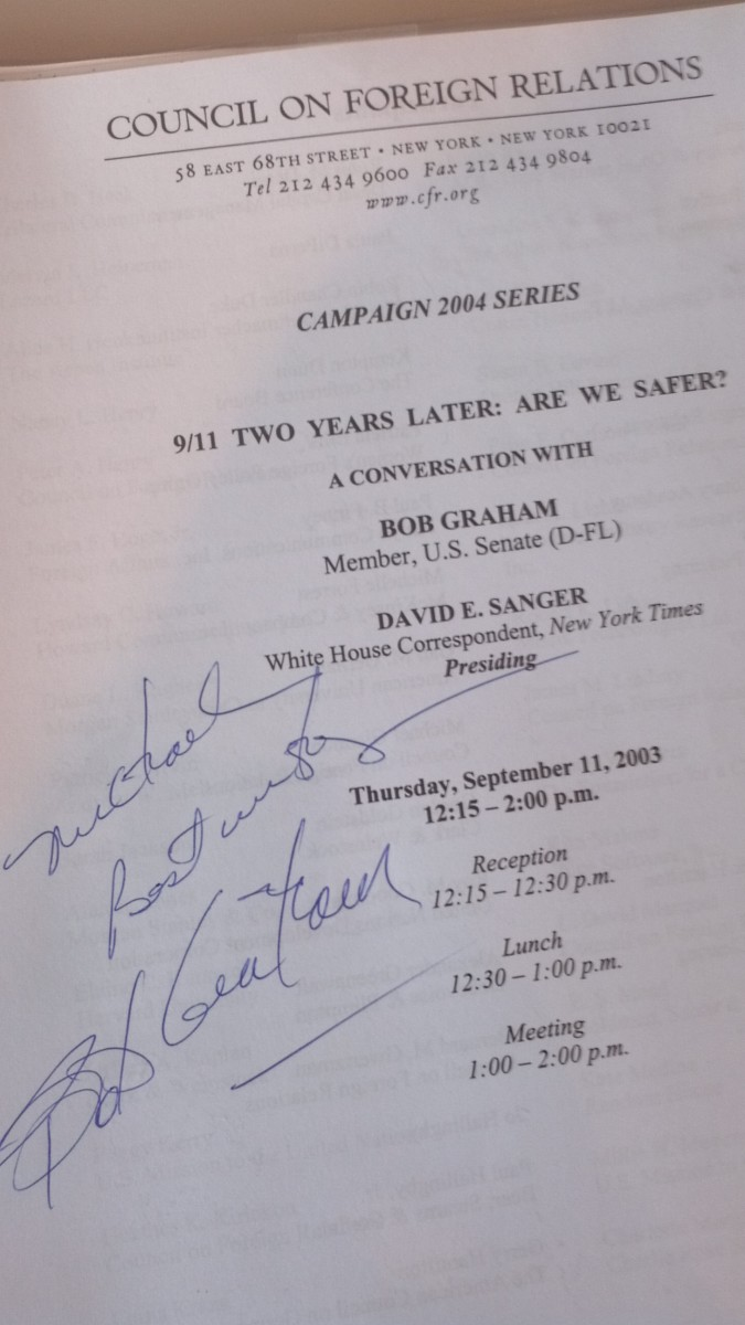 This program flier was signed by then-Presidential candidate, Senator  Bob Graham on the second anniversary of 9/11 (at the Council on Foreign Relations).