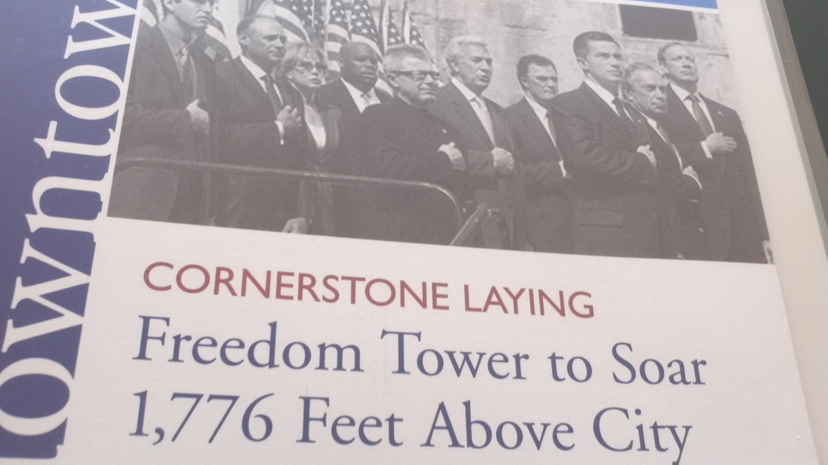 Image of the cover of a pamphlet I acquired on July 4, 2004 at the cornerstone laying of what was then called the Freedom Tower - later renamed 1 WTC building.
