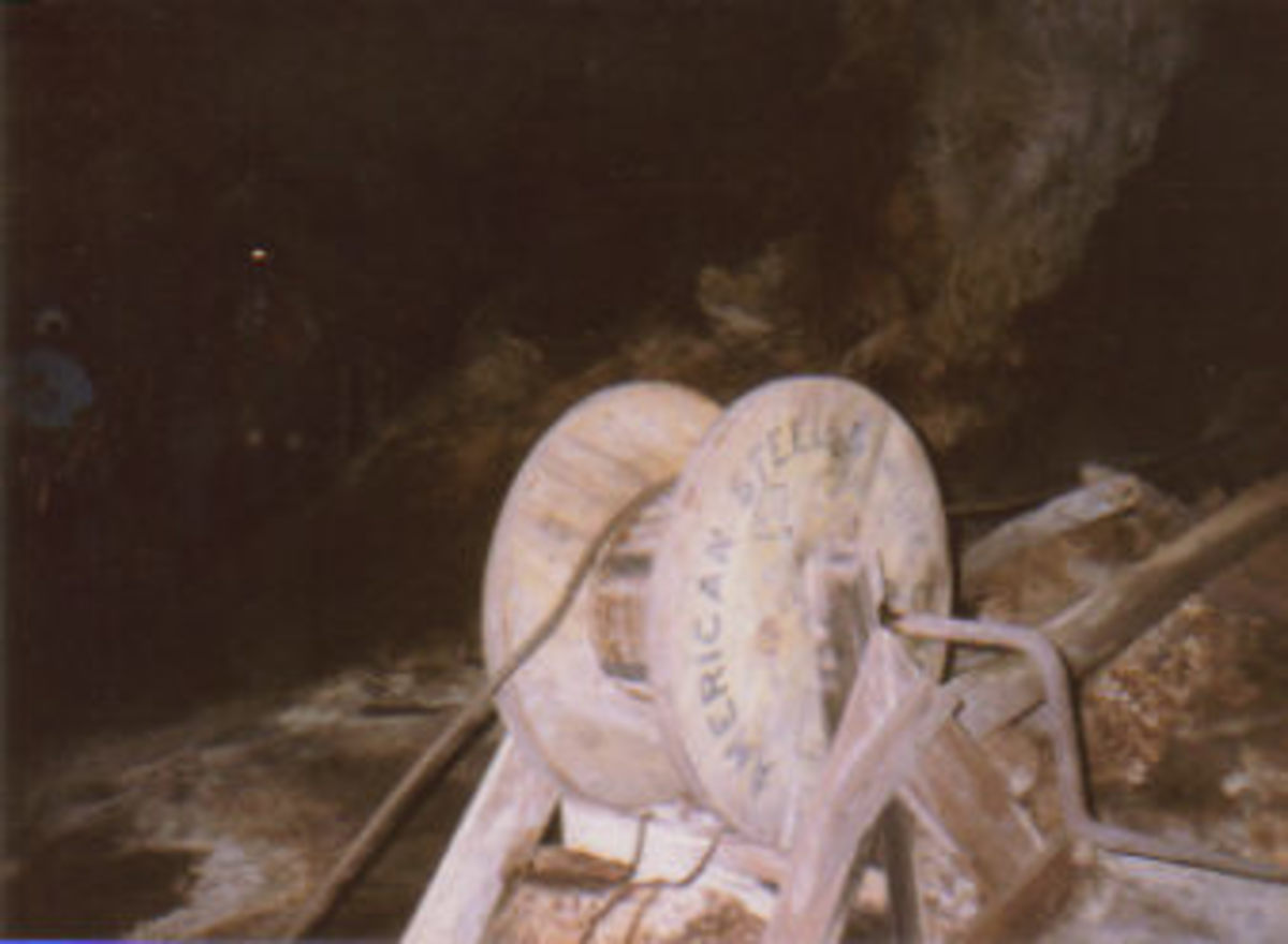 Mining equipment inside Ogle Cave.