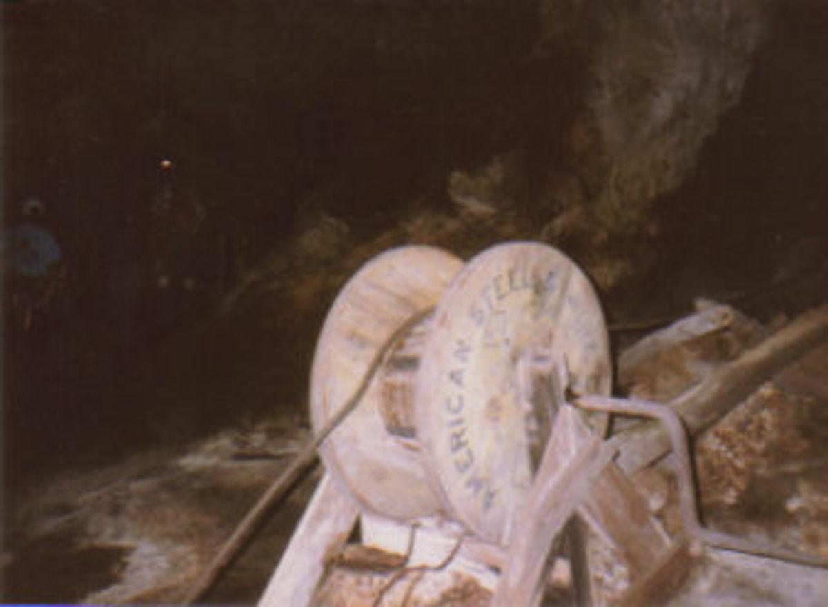 Mining equipment inside Ogle Cave.