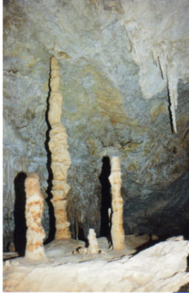 Formations inside Helen's Cave.