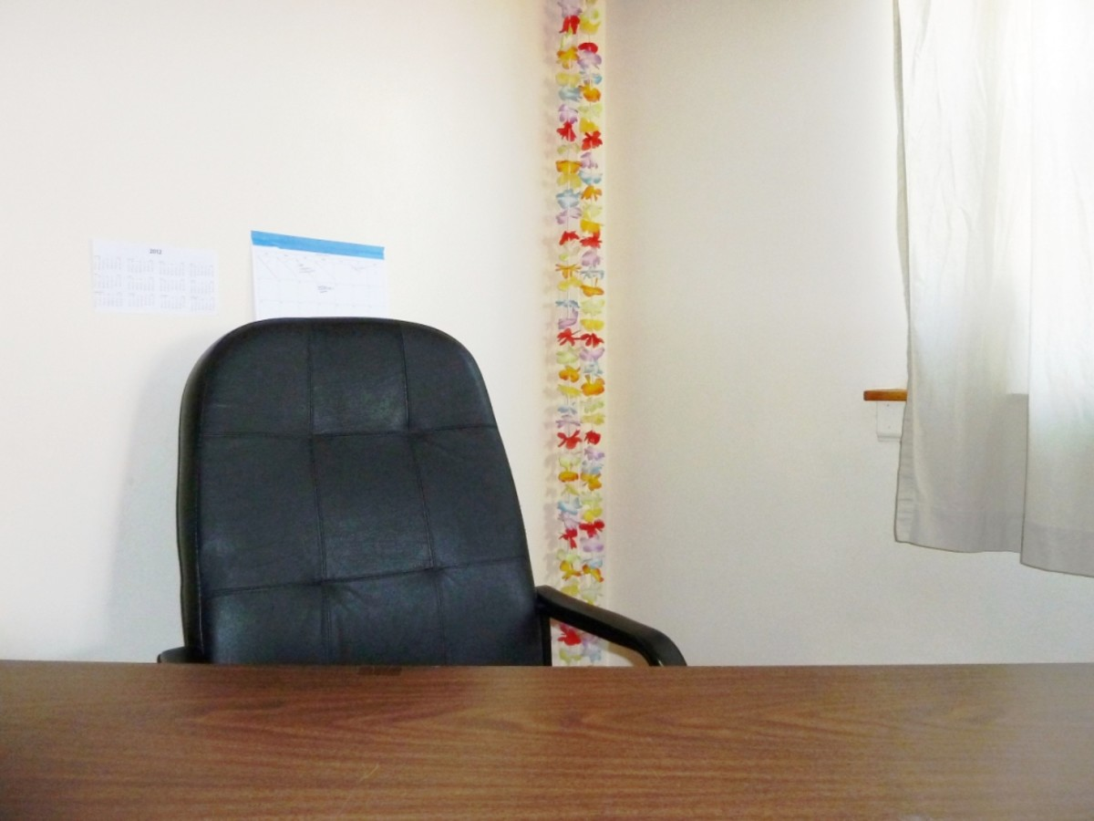 Now whoever sits at the desk will feel more at ease and work more productively without the poison arrow at his back.