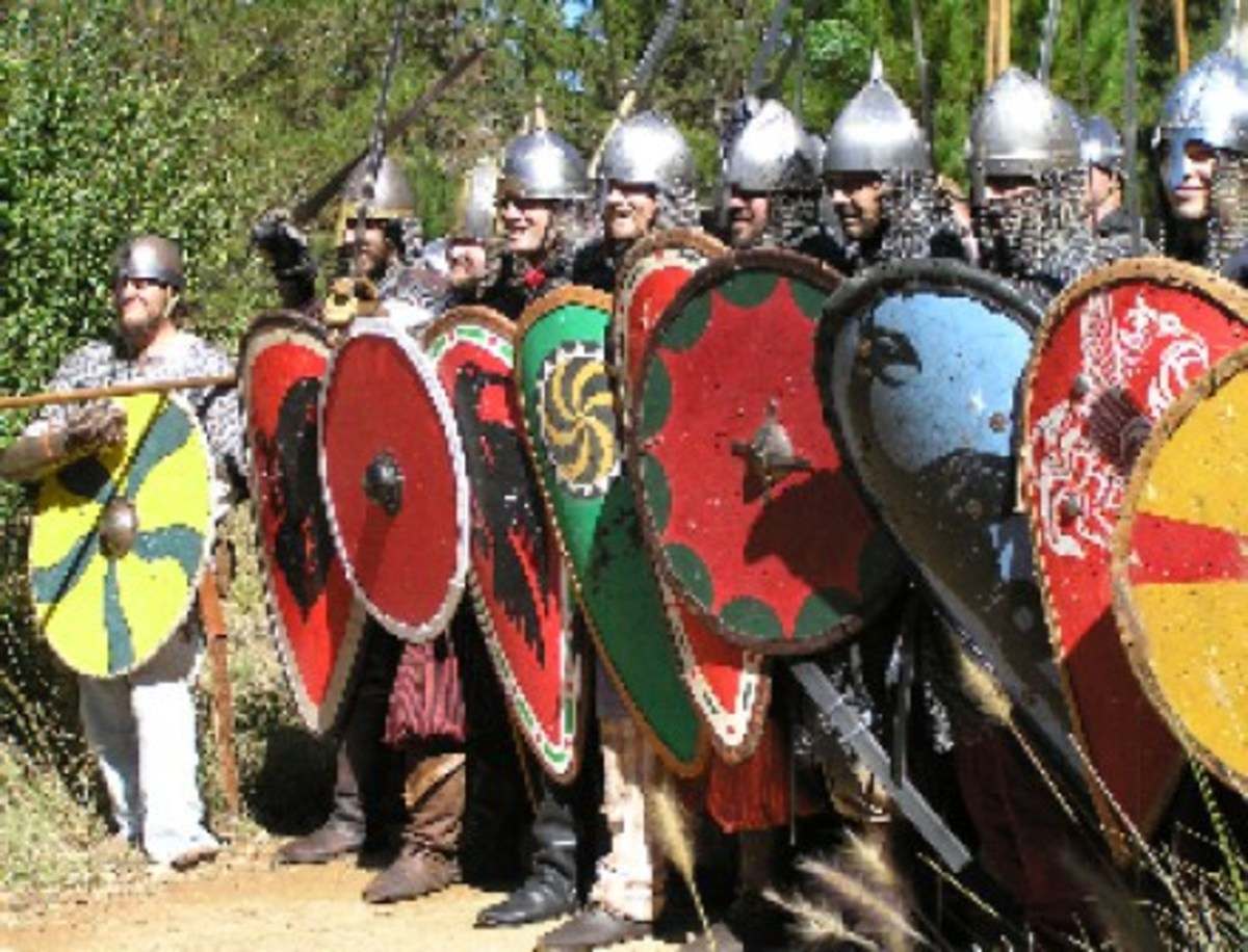 These Varangian Guardsmen have adapted their native Norse or Rus/Rhos battle formation against Turkish cavalry attack