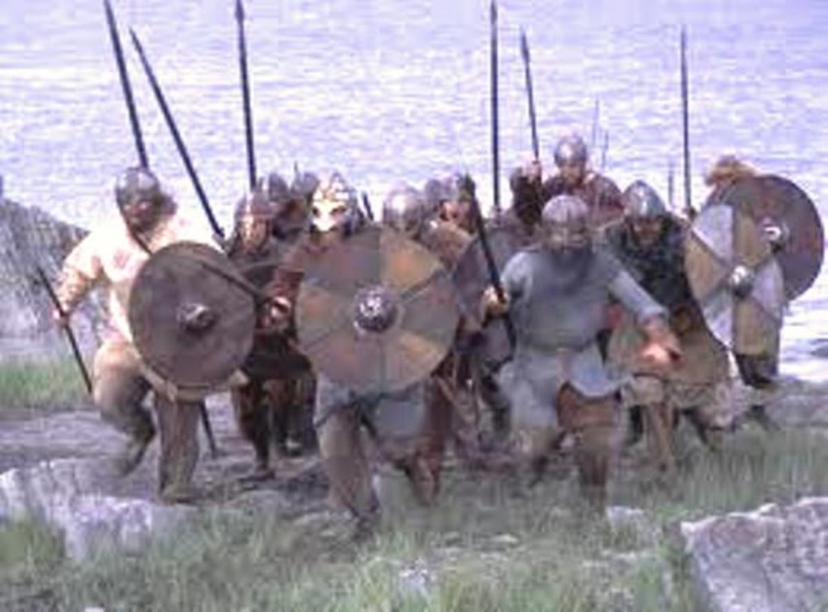 Storming the strand - men charge ashore from their ships in a surprise raid - remember the film 'The Vikings' with Kirk Douglas and Tony Curtis?