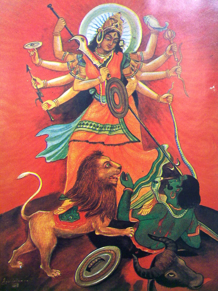 Durga is the benevolent form of World Mother in Hindu religion