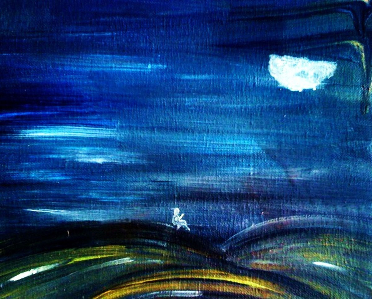 Comforting the Moon.  Acrylic Painting by Kelly Pittman