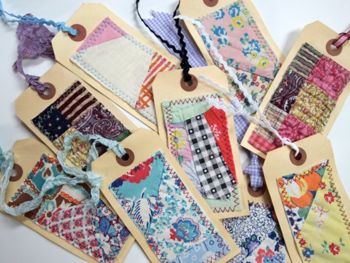 One of a kind quilted gift tags. Photo courtesy of bugsie at Etsy.
