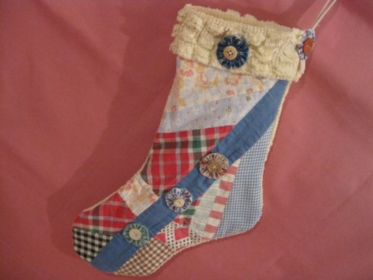Christmas stocking made from vintage quilt. Photo courtesy of memorimakers at Etsy.