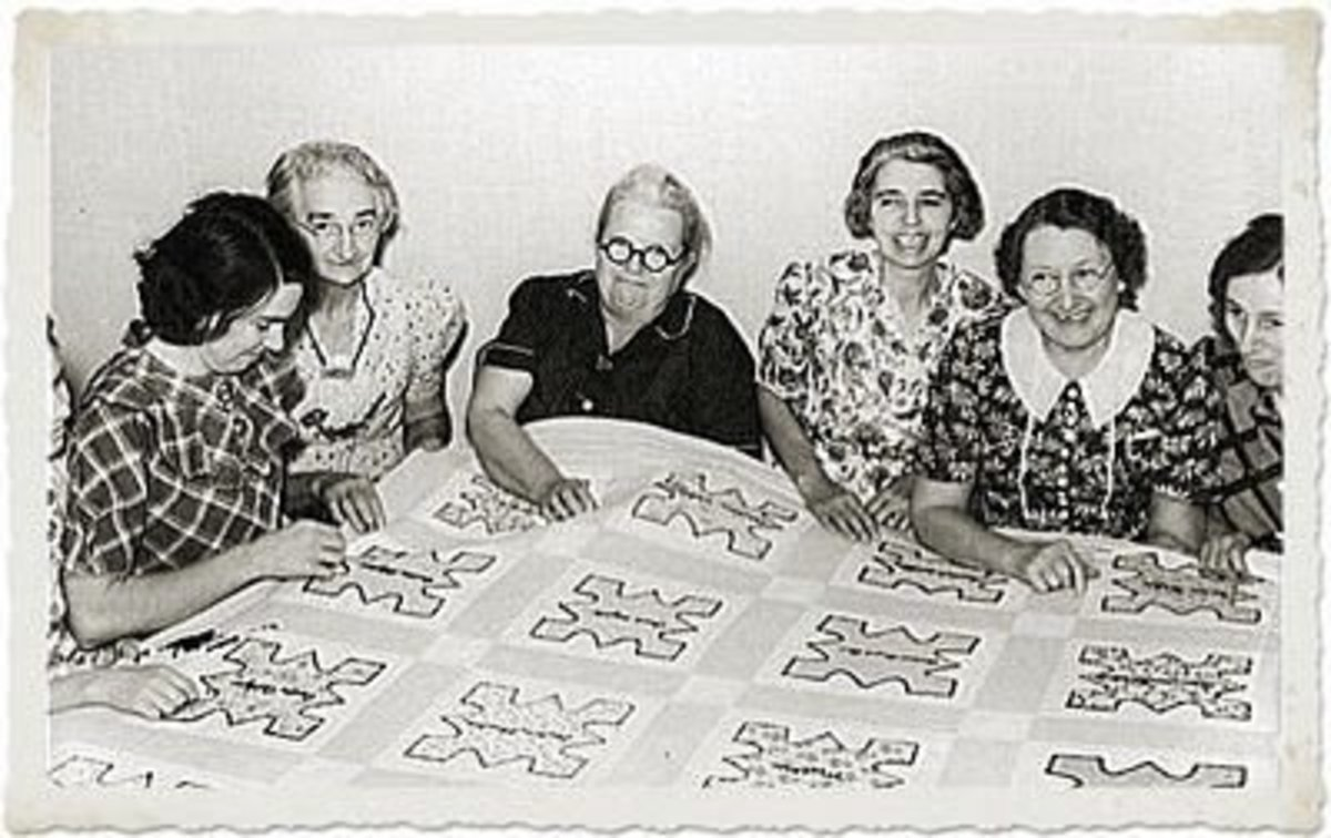 Ladies Making a Quilt