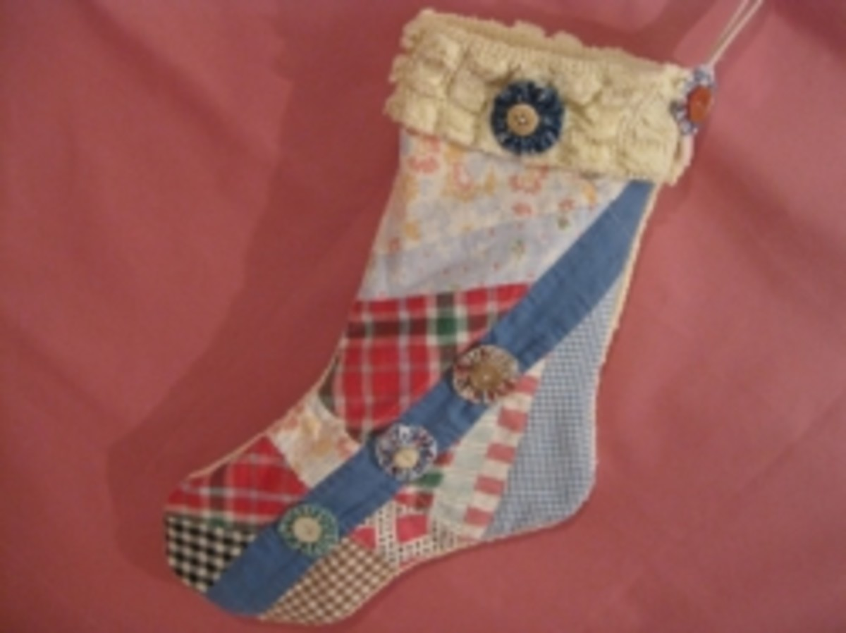 Lovely Christmas stocking made from a vintage quilt.