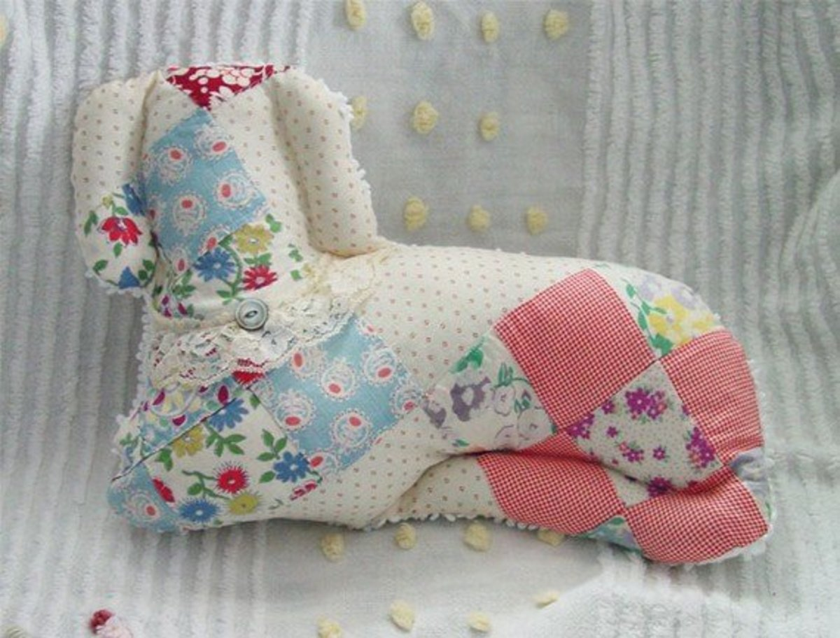 Puppy dog vintage quilted pillow. Photo courtesy of CanterLily at Etsy.