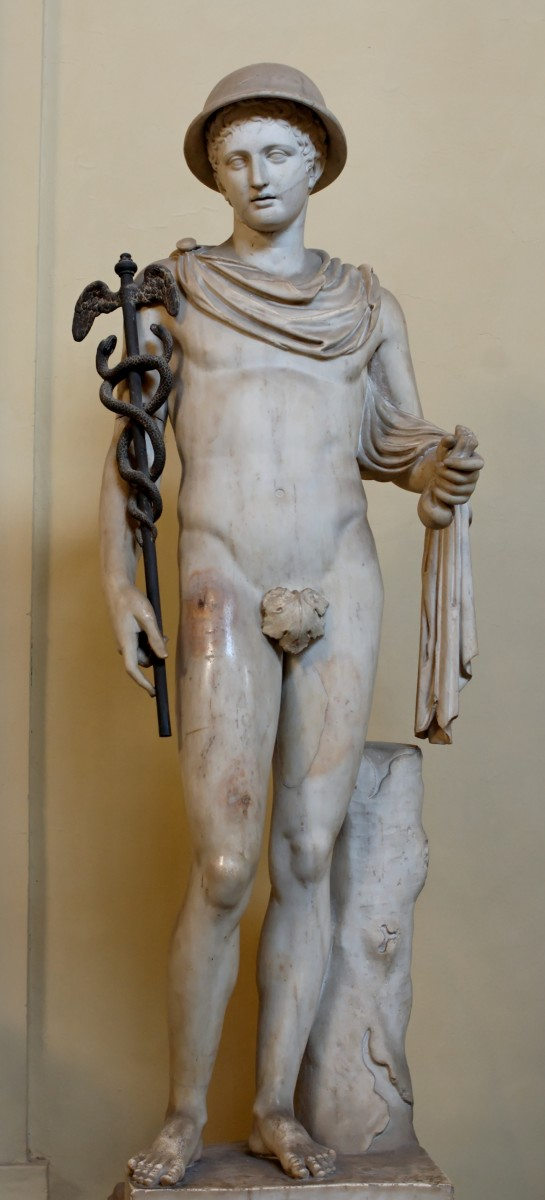 A statue of Hermes with his winged cap and staff