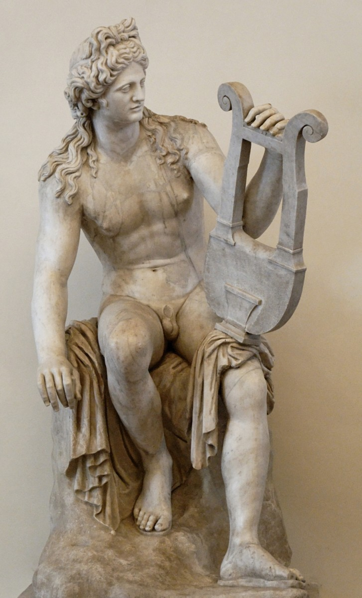 A statue of Apollo with his lyra