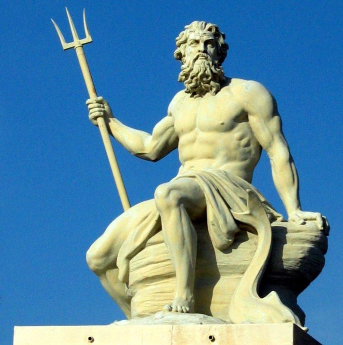 A sculpture of Poseidon in the port of Copenhagen