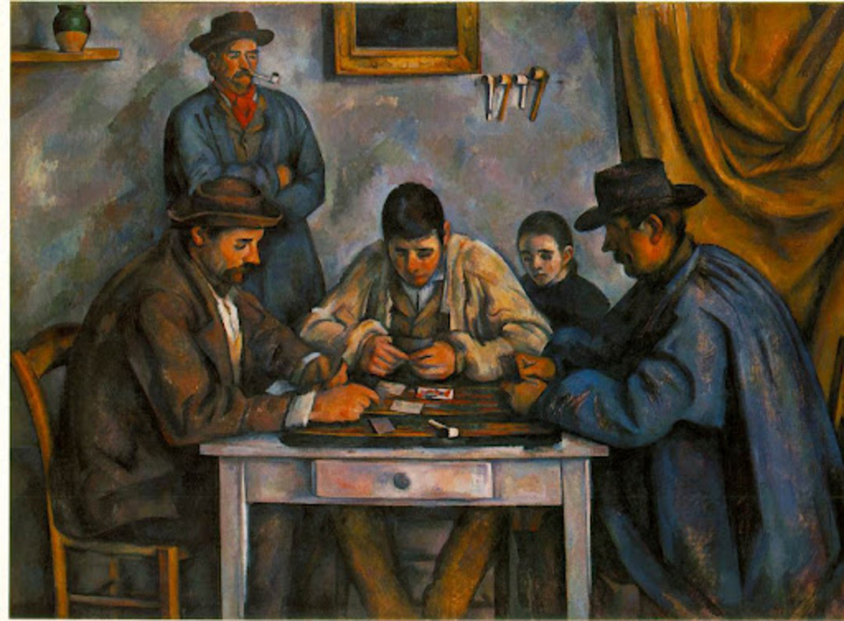 """CARD PLAYERS"" PAINTING BY CEZANNE (1891)"