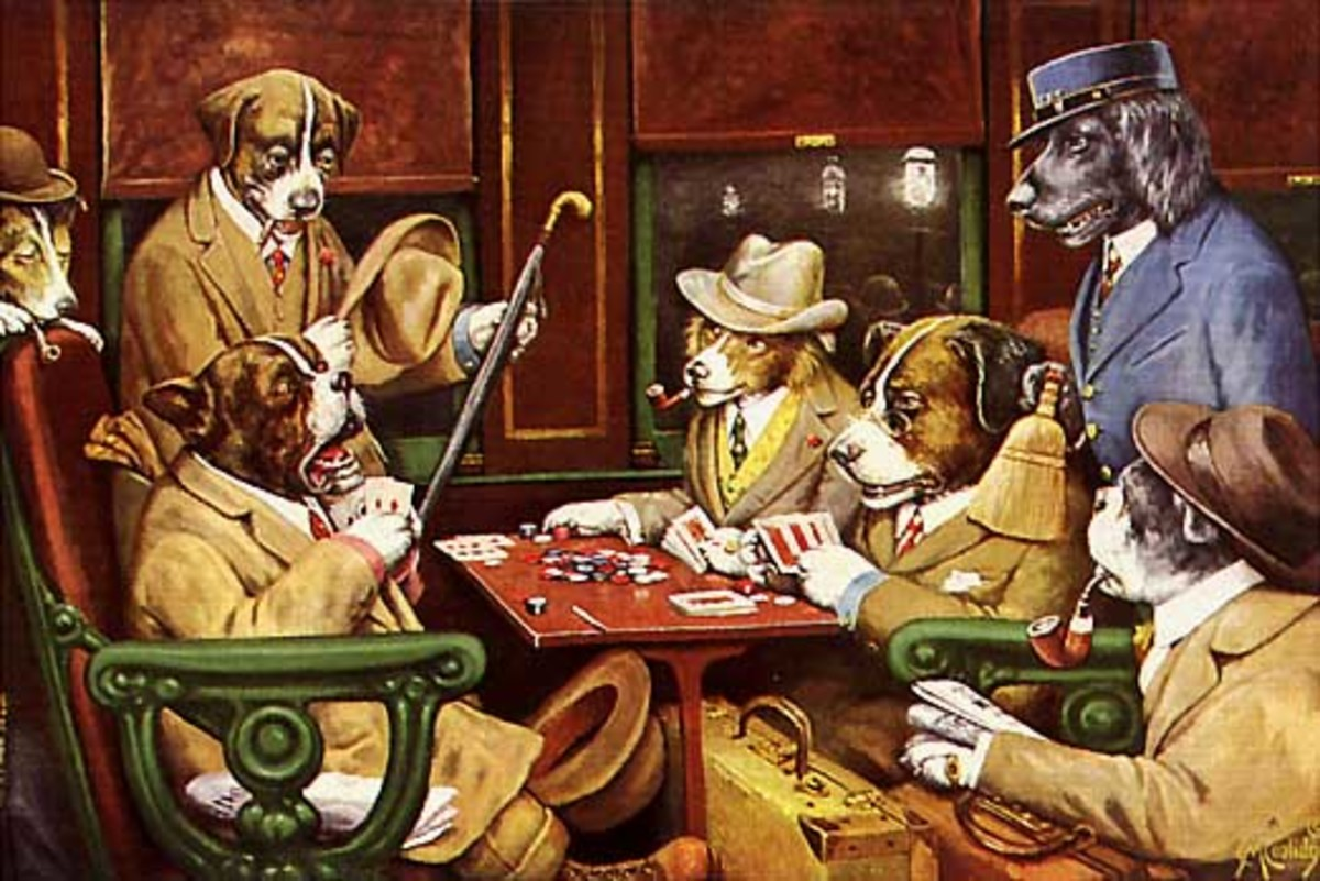EVEN DOGS PLAY POKER