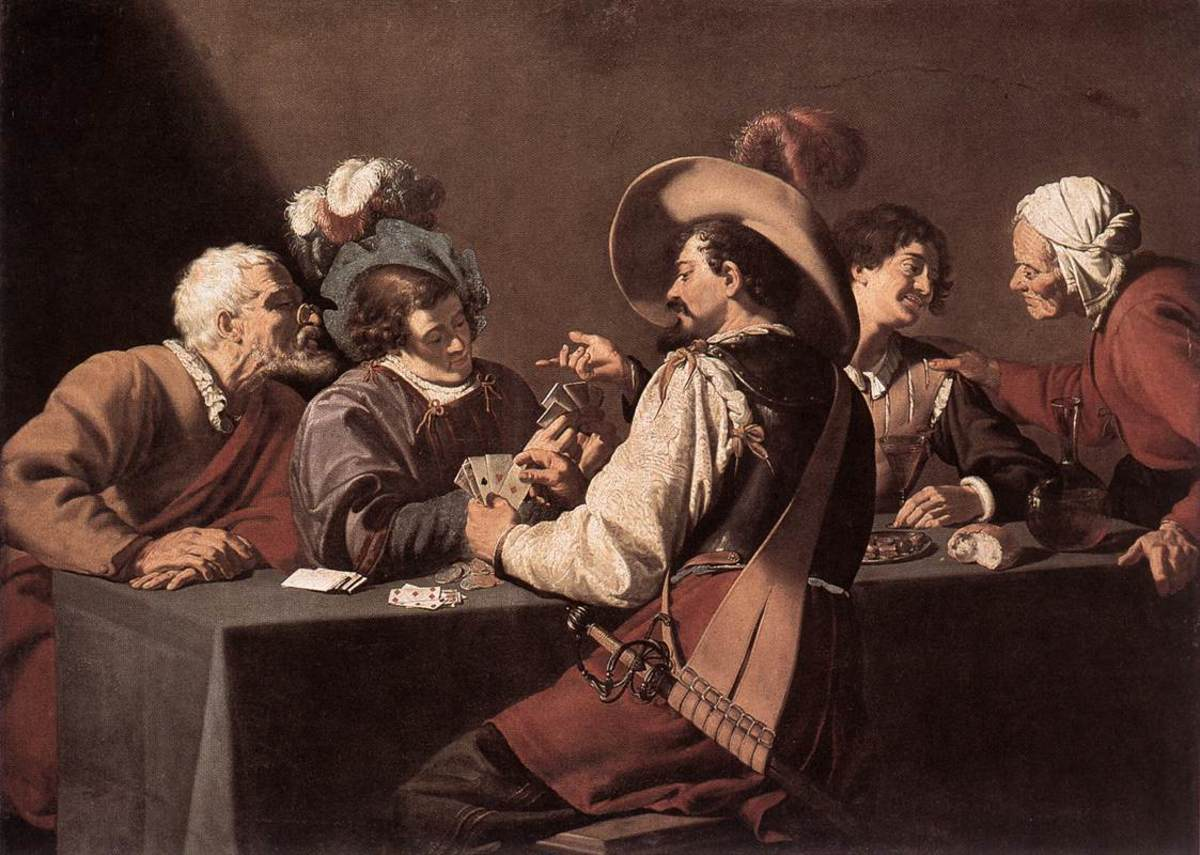 """""""THE CARD PLAYERS"""" BY THEODOR ROMBOUTS (1627)"""