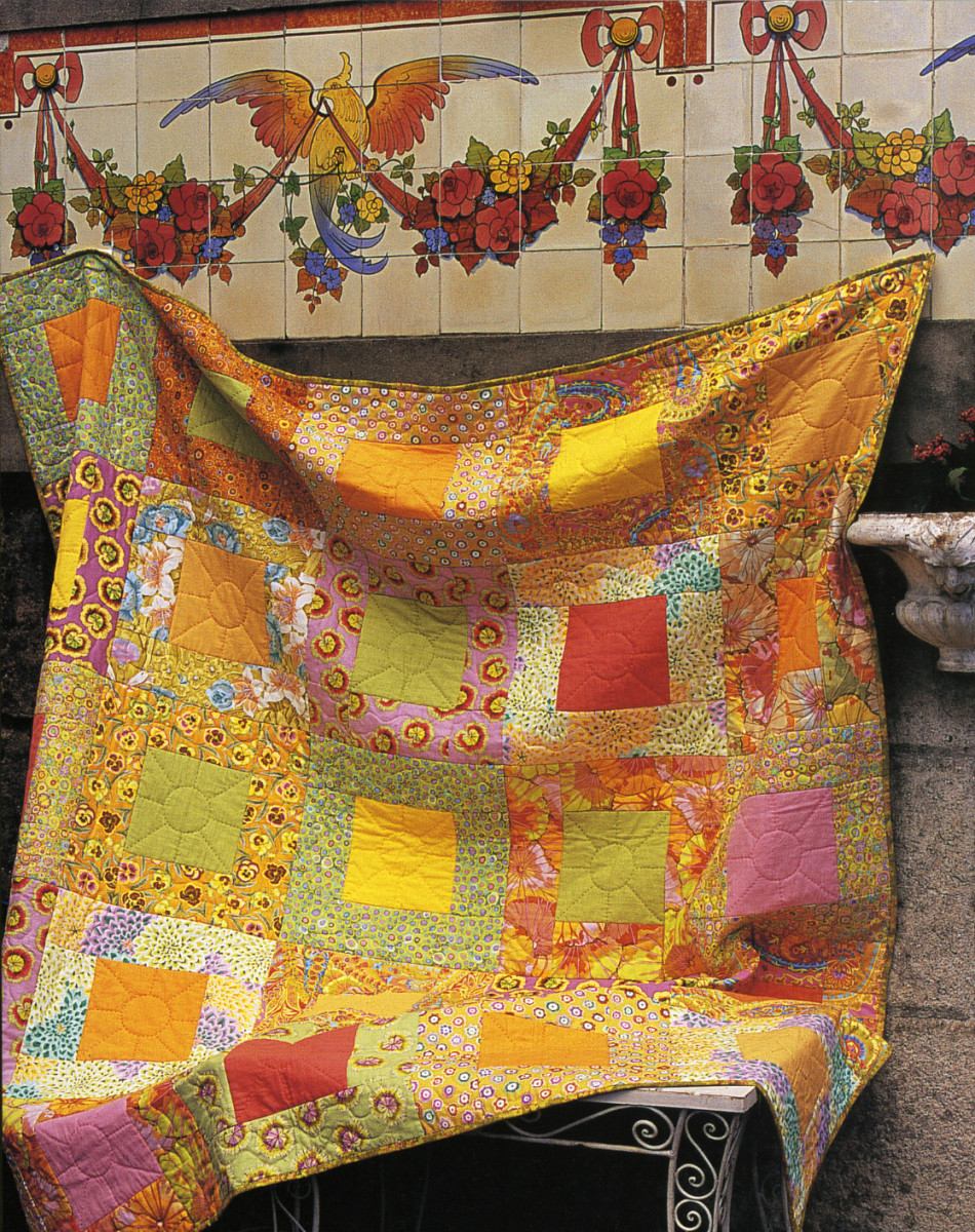 "Fig 3.  Sunny Frames Quilt by Kaffe Fassett, 75"" x 75"" featured in Quilts in the Sun, photographed by Debbie Patterson, reproduced with permission"