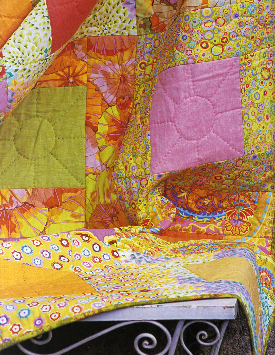 "Fig 4.  Detail from Sunny Frames Quilt by Kaffe Fassett, 75"" x 75"" featured in Quilts in the Sun, photographed by Debbie Patterson, reproduced with permission"