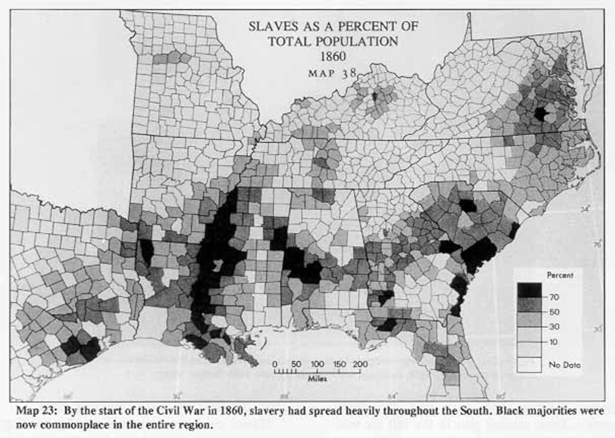 1860 slaves as a % of total poplation as you can see many places on the east coast have  greater then 50% with many reaching over 70%.