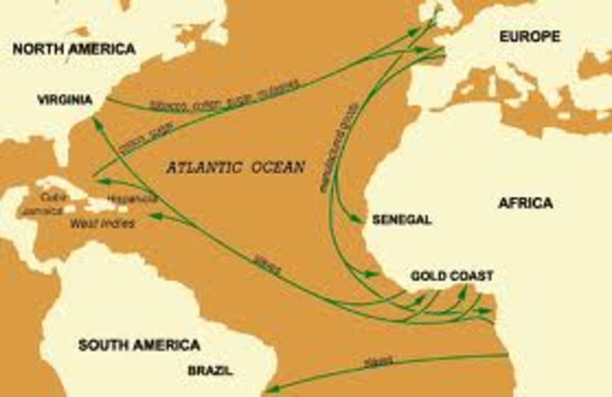 Textiles, rum and manufactured goods from Europe to Africa, Slaves from Africa to Americas and luxury goods from Americas to Europe set up the triangle.