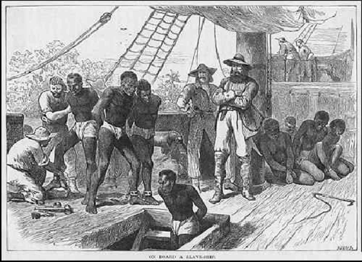 Depiction of a Slave Ship being loaded in west Africa