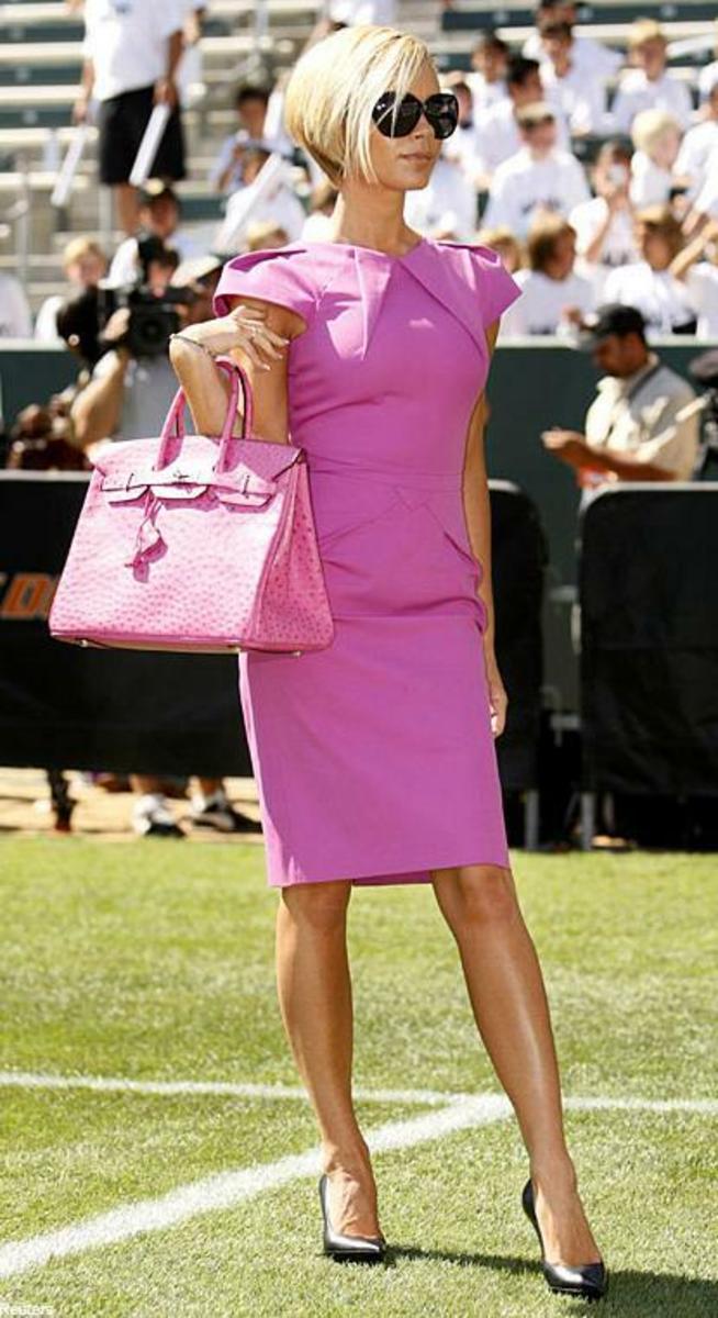 Victoria Beckham's pink ostrich skin Birkin