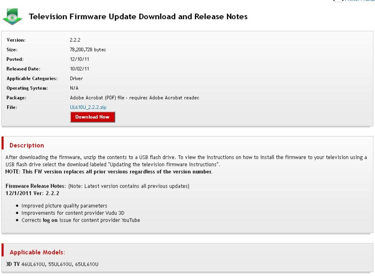Click the firmware update to see the details for that particular firmware update.
