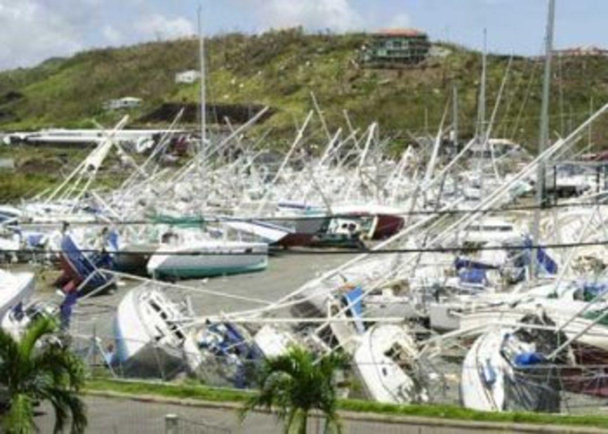 Nawiliwili Harbor, Kauai, HI  Hurricane Iniki Sept. 11, 1992