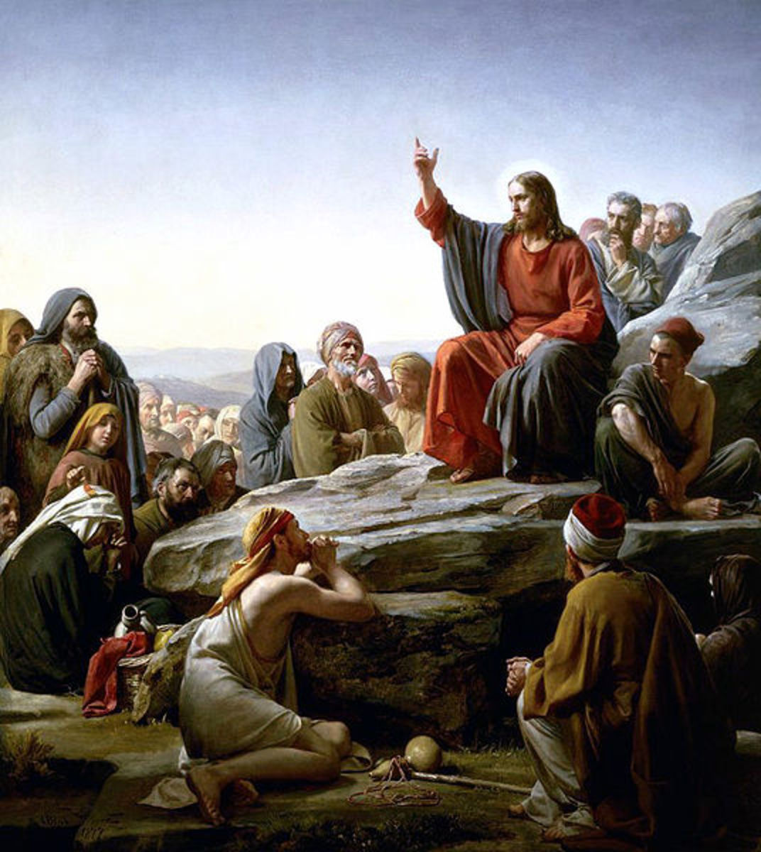 The founder of Christianity. A painting of the Sermon on the Mount, by nineteenth century artist,