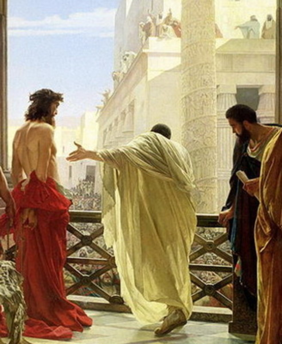 "A painting entitled, ""Ecce Homo"" (Behold the Man!) by nineteenth century artist, Antonio Ciseri, showing Pontius Pilate presenting Jesus of Nazareth to onlookers."
