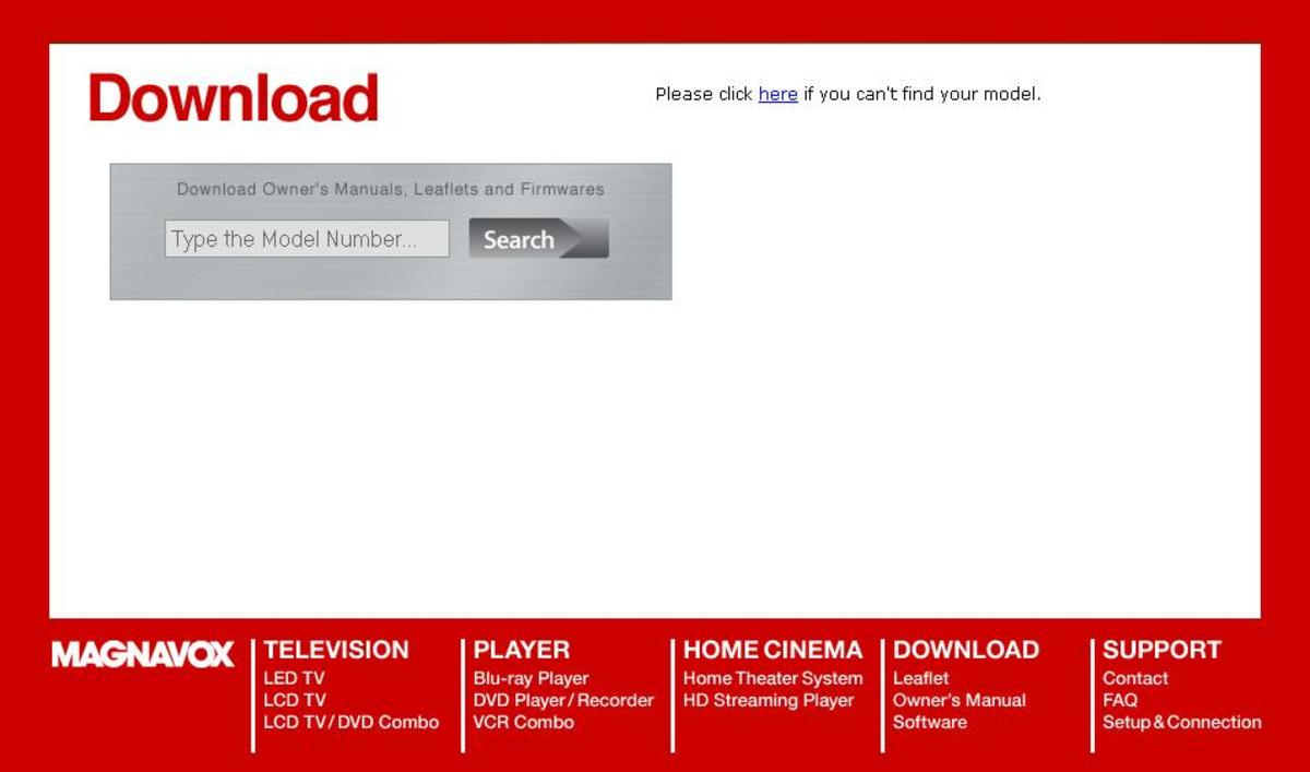 Enter your Magnavox Blu-ray player's model number into the Magnavox Support Download Search field.