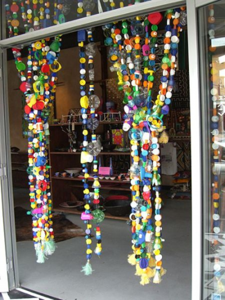 Fun With Bottle Tops - Now That's A Creative Way To Make A Curtain!