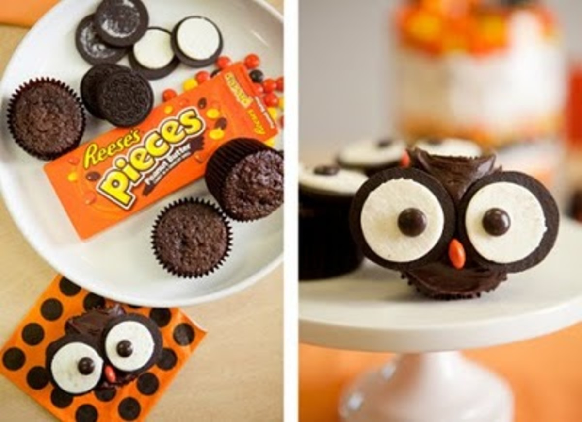 Candy Owl Cupcakes (http://boards.weddingbee.com/topic/baby-shower-candy-buffet-pic-a-run-thru)