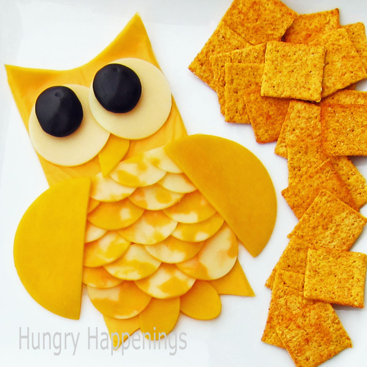 Owl Cheese Appetizer (http://www.hungryhappenings.com/2011/10/transform-ordinary-cheese-tray-into.html)