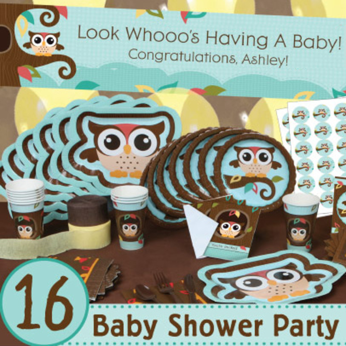 Blue Owl Baby Shower Party Pack (also available in Pink or Twins version)