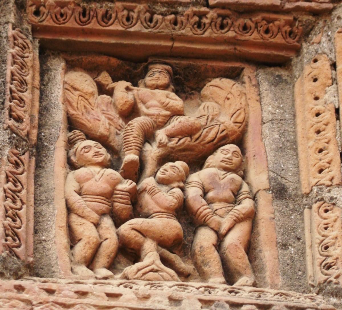 Terracotta art in Supur Twin Temples 8 (Krishna Leela --- Vastraharan)