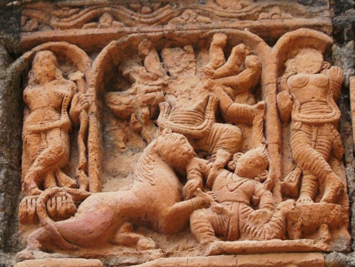 Terracotta art in Supur Twin Temples 12 (Goddess Durga slaying the demon Mahishasura)